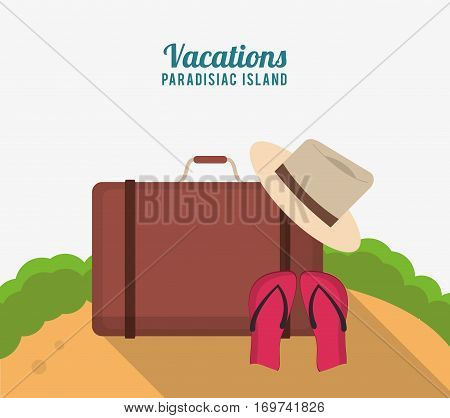 vacations paradisiac island with suitcase hat flip flop sand vector illustration eps 10