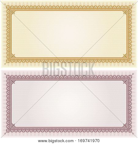 Certificate gift coupon card blank template border frame background in gold and silver color versions