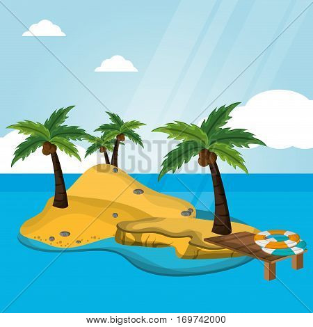 island desert with pier lifebuoy vacations vector illustration eps 10