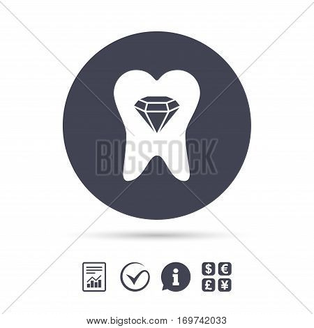 Tooth crystal icon. Tooth jewellery sign. Dental prestige symbol. Report document, information and check tick icons. Currency exchange. Vector