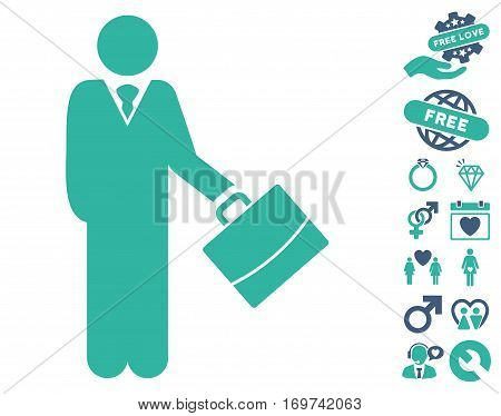 Standing Businessman pictograph with bonus dating symbols. Vector illustration style is flat iconic cobalt and cyan symbols on white background.