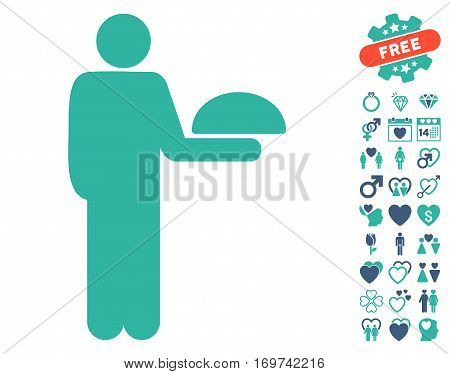 Standing Waiter pictograph with bonus lovely icon set. Vector illustration style is flat iconic cobalt and cyan symbols on white background.