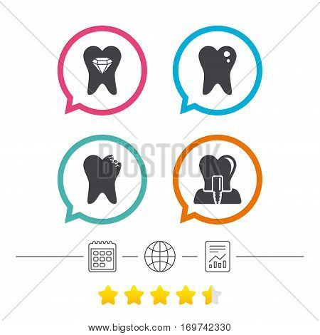 Dental care icons. Caries tooth sign. Tooth endosseous implant symbol. Tooth crystal jewellery. Calendar, internet globe and report linear icons. Star vote ranking. Vector