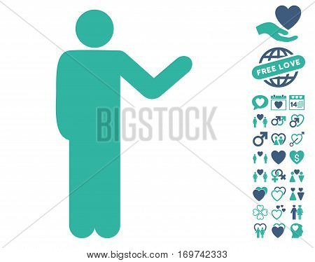 Talking Man pictograph with bonus lovely symbols. Vector illustration style is flat iconic cobalt and cyan symbols on white background.