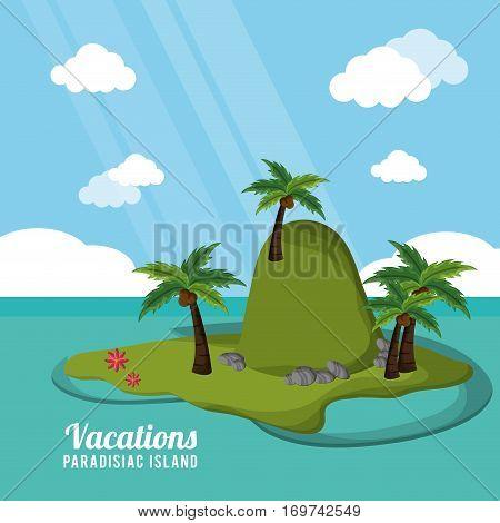 caribbean tropical vacations paradisiac island vector illustration eps 10