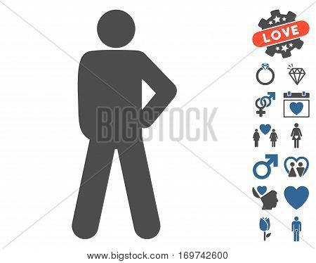 Audacity Pose pictograph with bonus valentine pictograms. Vector illustration style is flat iconic cobalt and gray symbols on white background.