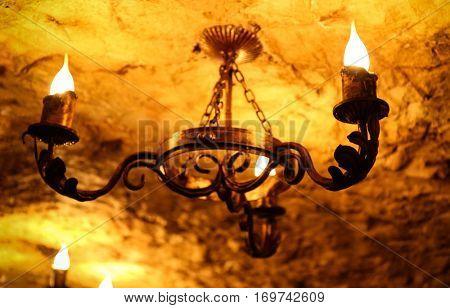 Retro lustre on ceiling, closeup