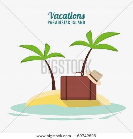 suitcase hat accessories vacations paradisiac island vector illustration eps 10