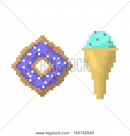Ice cream on stick and bagel style of pixel art vector illustration. Candy snack cold fruit frozen delicious. Vanilla geometric pattern pie dessert restaurant pixelated element.