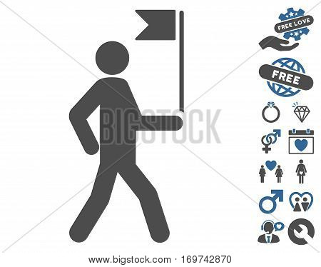 Guide Man With Flag pictograph with bonus lovely graphic icons. Vector illustration style is flat iconic cobalt and gray symbols on white background.