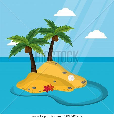 deserted island with palm tree coconut starfish mussel sunlight vector illustration eps 10