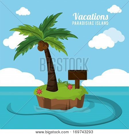 vacations paradisiac island palm coconut flower and wooden board vector illustration eps 10