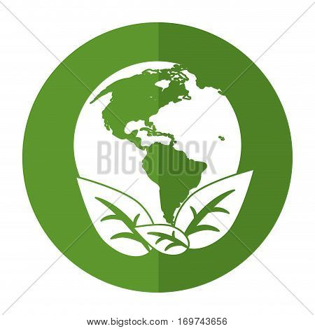 world earth ecological enviroment leaves symbol shadow vector illustration eps 10