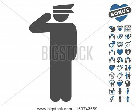 Police Officer pictograph with bonus valentine icon set. Vector illustration style is flat iconic cobalt and gray symbols on white background.
