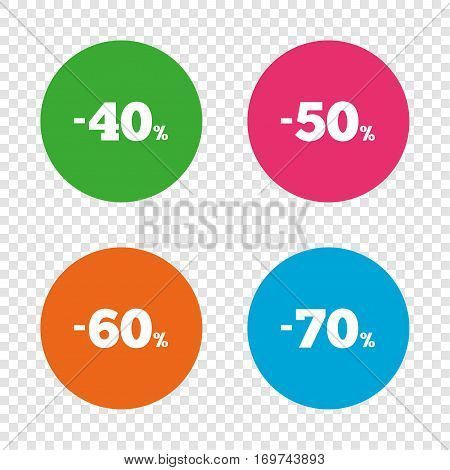 Sale discount icons. Special offer price signs. 40, 50, 60 and 70 percent off reduction symbols. Round buttons on transparent background. Vector