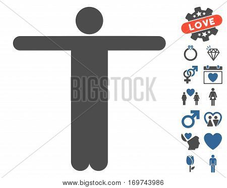 Scarecrow Pose pictograph with bonus valentine images. Vector illustration style is flat iconic cobalt and gray symbols on white background.
