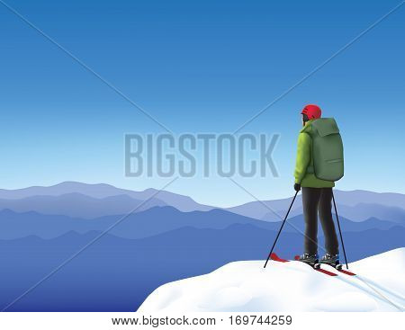 Lonely skier high in the snowy mountains