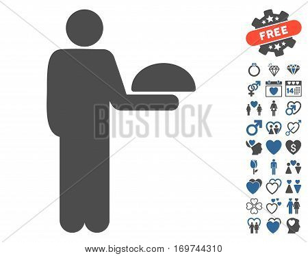 Standing Waiter pictograph with bonus love pictograms. Vector illustration style is flat iconic cobalt and gray symbols on white background.