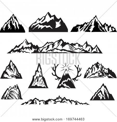 Simple black and white vector mountain set