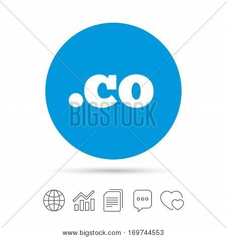 Domain CO sign icon. Top-level internet domain symbol. Copy files, chat speech bubble and chart web icons. Vector
