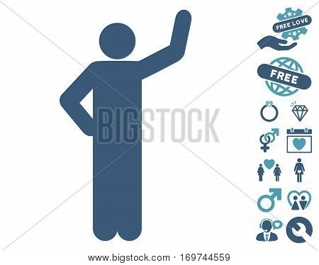 Assurance Pose icon with bonus love pictograph collection. Vector illustration style is flat iconic cyan and blue symbols on white background.