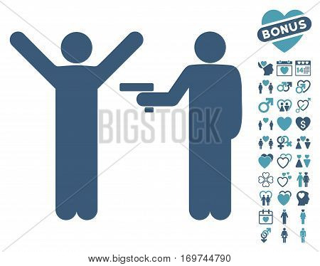 Crime Robbery icon with bonus valentine graphic icons. Vector illustration style is flat iconic cyan and blue symbols on white background.