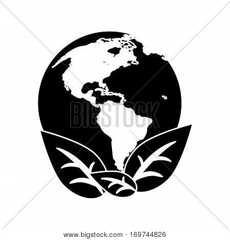 world earth ecological enviroment leaves symbol pictogram vector illustration eps 10