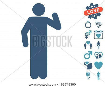Opinion Pose pictograph with bonus dating graphic icons. Vector illustration style is flat iconic cyan and blue symbols on white background.