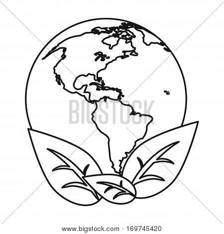 world earth ecological enviroment leaves symbol thin line vector illustration eps 10