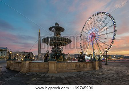 Fountain at Place de la Concorde in Paris France