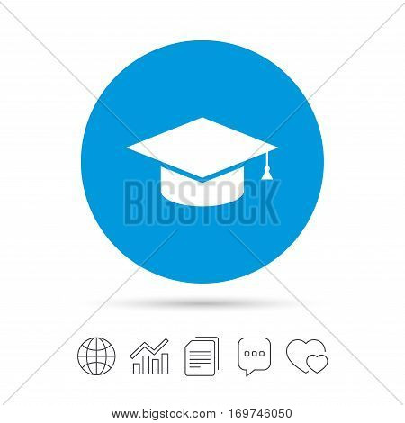 Graduation cap sign icon. Higher education symbol. Copy files, chat speech bubble and chart web icons. Vector