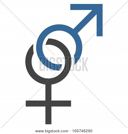 Sex Symbol flat icon. Vector bicolor cobalt and gray symbol. Pictograph is isolated on a white background. Trendy flat style illustration for web site design logo ads apps user interface.