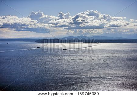 View out to Puget Sound from Space Needle