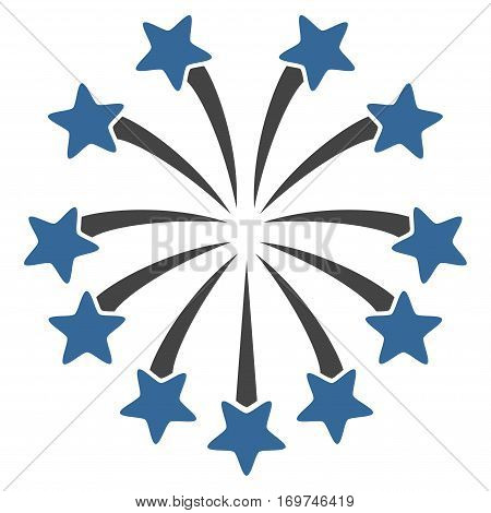 Spherical Fireworks flat icon. Vector bicolor cobalt and gray symbol. Pictograph is isolated on a white background. Trendy flat style illustration for web site design logo ads apps user interface.