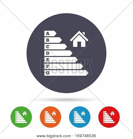 Energy efficiency icon. Electricity consumption symbol. House building sign. Round colourful buttons with flat icons. Vector