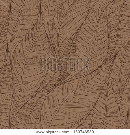 Linear seamless texture on the basis of abstract leaves in shades of brown. Wallpaper.