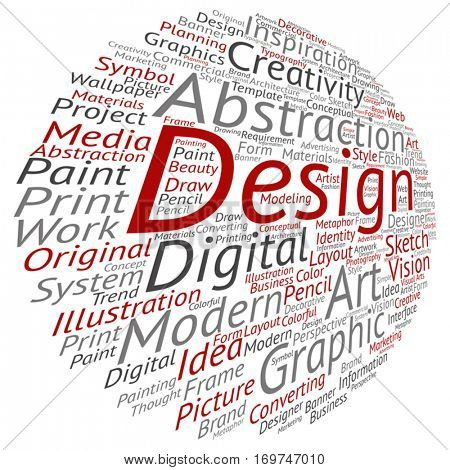 Vector concept conceptual creativity art graphic design visual word cloud isolated on background metaphor to advertising, decorative, fashion, identity, inspiration, vision, perspective or modeling