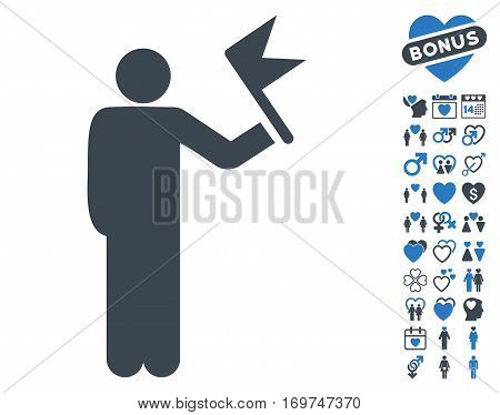 Man With Flag icon with bonus lovely clip art. Vector illustration style is flat iconic smooth blue symbols on white background.