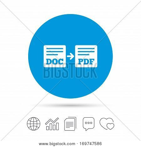 Export DOC to PDF icon. File document symbol. Copy files, chat speech bubble and chart web icons. Vector