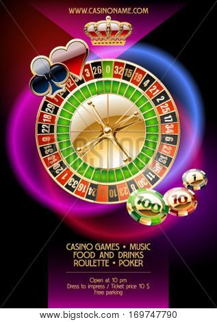 Vector template of promo poster for casino night event
