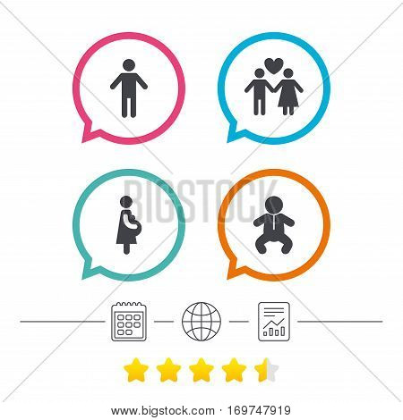 Family lifetime icons. Couple love, pregnancy and birth of a child symbols. Human male person sign. Calendar, internet globe and report linear icons. Star vote ranking. Vector
