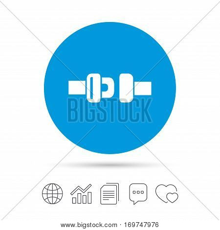Fasten seat belt sign icon. Safety accident. Copy files, chat speech bubble and chart web icons. Vector