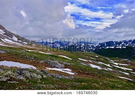 Alpine meadows and mountains at Independence Pass near Aspen. Colorado. United States.