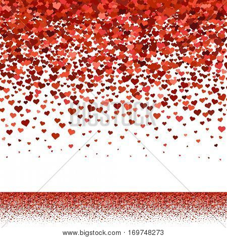 Seamless red hearts fall upper border for Valentines Day card or banner. Vector illustration.