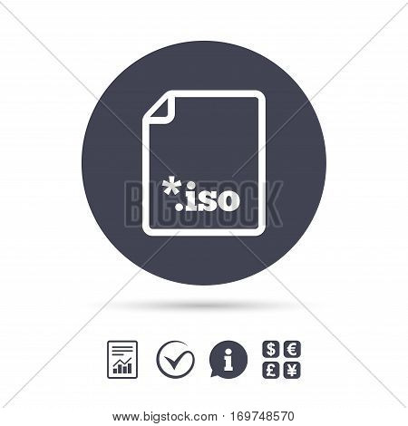 File ISO icon. Download virtual drive file symbol. Report document, information and check tick icons. Currency exchange. Vector