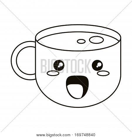 kawaii coffee cup beverage breakfast thin line vector illustration eps 10