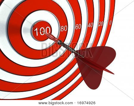 Close-up of target and dart isolated on white