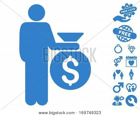 Investor pictograph with bonus dating symbols. Vector illustration style is flat iconic cobalt symbols on white background.