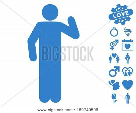 Opinion Pose pictograph with bonus valentine clip art. Vector illustration style is flat iconic cobalt symbols on white background.