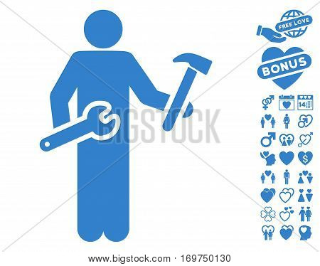 Serviceman icon with bonus lovely clip art. Vector illustration style is flat iconic cobalt symbols on white background.
